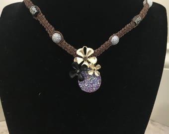 Handmade Hemp Necklace with Purple Geode Inspired Pendant