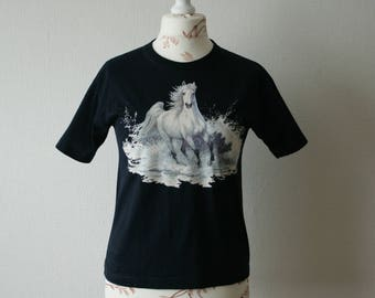 Vintage dark navy blue simple Tshirt with white horses print on the front Cotton jersey top Short sleeve top with horses print on chest