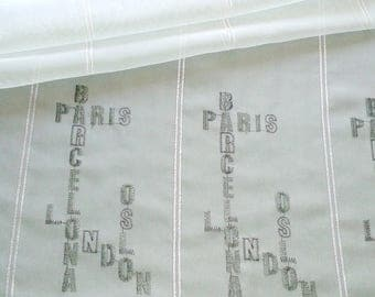 height 117 cm with capitals embroidered sheer curtain