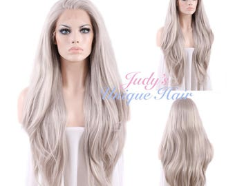 Long Straight Grey Lace Front Hair Wig Heat Resistant
