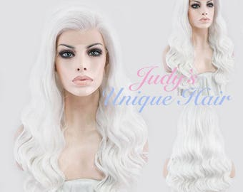 Long Curly Wavy Pure White Lace Front Synthetic Hair Wig Heat Resistant