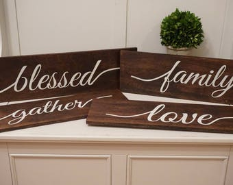 Large Rustic Wood Decor Gather Wood Sign Family Wood Sign Blessed Wood Sign