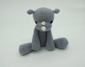 Crochet Rhino, Amigurumi Rhino, Plush Rhino toy, soft rhino, handmade rhino, baby rhino toy, rhino stuffie