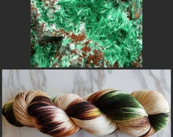Hand Dyed Yarn, Merino, Nylon, Stellina, Sparkle, Perfect for Special Socks, Shawls and Lightweight Accessories - Brochantite