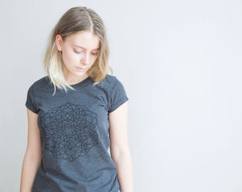 FREE DELIVERY! / Slim Fit women Mandala T-Shirt for Enlightenment / Black Mandala Shirt / Sacred Mandala Shirt / Mandala Top / Mandala Tee