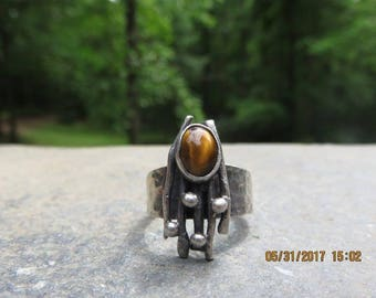 Sterling Silver Tiger's Eye Israel Modernist Ring