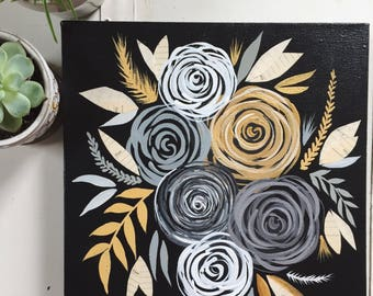 Original Flower Painting// Paint Torn Paper Collage // Original Collage & Painting // Black, Gold, Yellow Flowers // 12 x 12 Inch Painting