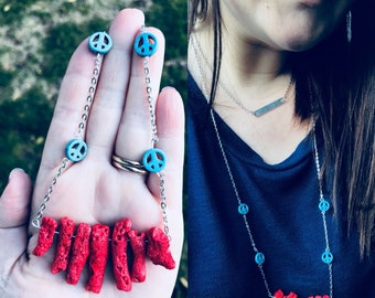 Red coral, turquoise peace sign statement necklace// HANDMADE
