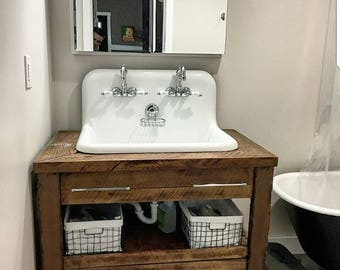 reclaimed wood bathroom vanity. SALE  Chesapeake Edition 24 96 Reclaimed Custom Hand Made Barn wood vanity Etsy
