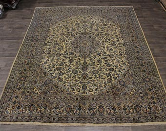 Antique Hand Knotted Gold-Washed Mashad Persian Rug Oriental Area Carpet 10X13