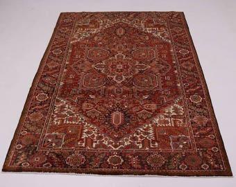 Astonishing Geometric Hand Knotted Heriz Persian Rug Oriental Area Carpet 9X10
