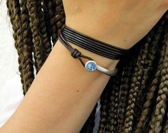 Wrap Boho bracelet,wrap bracelet,leather wrap bracelet,beaded wrap bracelet,leather bracelet, silver plated,beaded,Swarovski bead,PV031