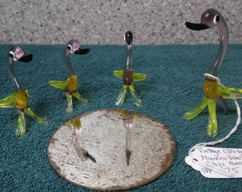 Venetian Glass Goose family made in mid 1900's from Murano, Italy