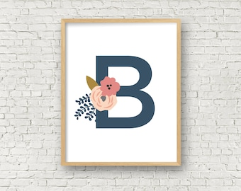 Monogram letter B printable wall art girls nursery 8x10 digital art print instant download initial B