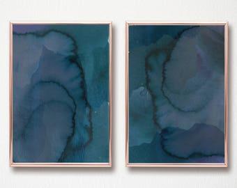 Abstract Watercolor Art Printable Digital Art Print set of 2 dark turquoise navy indigo modern marble watercolor abstract art 11x14 & 12x16