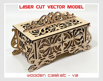 Wooden casket, plywood casket, casket laser model, casket cnc, casket vector model, casket vector, wooden jewelry box, casket for jewelry V2