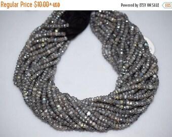50% OFF Beautiful Labradorite AB  Silver Coated Rondelle Beads - Labradorite Coated Faceted Rondelle Beads , 4-4.50 mm - MC177