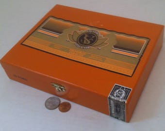 Vintage Orange Wooden Storage Box, Cigar Box, Dominican Republic, 9 x 7 x 2, Shelf Decor, Cigar Display, Wooden Box