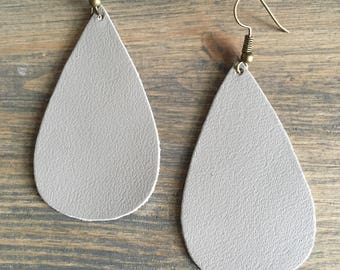 Taupe Teardrop Earrings - Teardrop Leather Drop Earrings - Leather Jewelry - Taupe Leather Dangle Earrings