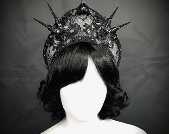 Halo Gothic Kokoshnik in silver black, silver black Frenchhood with cabochons and lace ready to ship