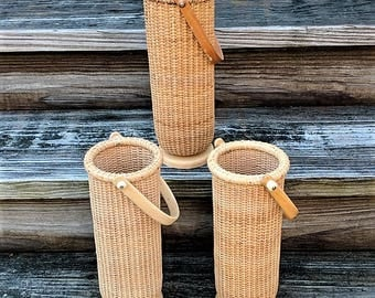 Nantucket Style Tall Baskets Floral Supply Centerpiece Container Ceramic Hinges Brass Nails