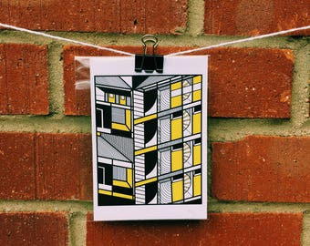 A6 Yellow Architecture Print