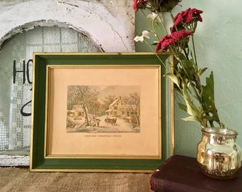 Currier & Ives Framed Picture / American Homestead Winter / Antique Wall Decor / Winter Scene