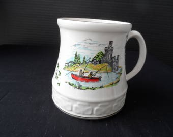 Gift for a Fisherman  Vintage pre 1979  Large Mug by  Carrigaline Pottery Co 2 Men Fishing from a Boat   1395