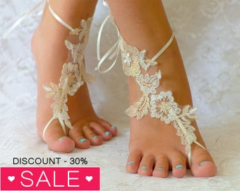 Beach anklets for bride, Bridal sandals, France Lace Anklet, Lace Wedding Shoes, Wedding Barefoot Sandals, Beach Shoes, Beach Sandals 04