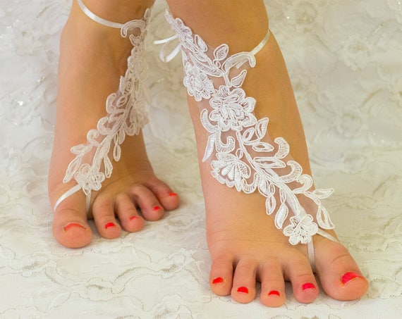 Barefoot Sandals White Lace, Barefoot sandles, beach wedding shoes, wedding lace shoes, bridesmade gift, beach shoes