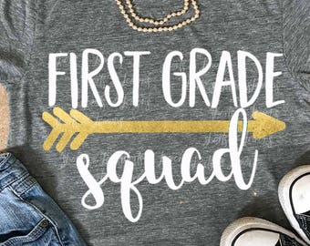 First grade squad svg, Back to school svg, 1st grade shirt, 1st grade, cricut, SVG, DXF, 1st svg, school svg, clip art, teacher shirt, eps