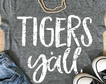 Tigers y'all,  tigers svg, grunge svg, tiger svg, football svg, baseball svg, basketball svg, cut file, tigers shirt,  rustic svg, vintage