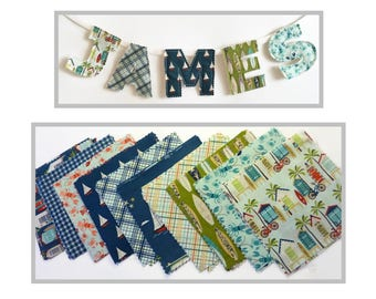 Offshore-sea & surf.   Name bunting, Children's room decoration, Wall hanging, room decor, wall art, nursery decor