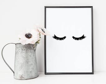 Eyelashes Print, Wall art Prints, Art Print, Sassy Wall Art, Makeup Print, Eyelashes, Wall art print, Makeup Art, Mascara Art
