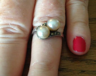 Sterling Silver Double Pearl and Marcasite Ring