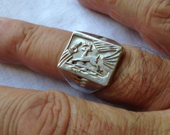 Sterling Silver Men's Ring with a Deer or Buck