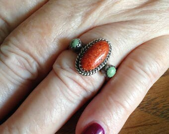 Native American Sterling Silver Coral and Gaspeite Ring