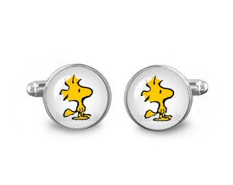 Woodstock Cuff Links Snoopy Cuff Links 16mm Cufflinks Gift for Men Groomsmen Novelty Cuff links Fandom Jewelry