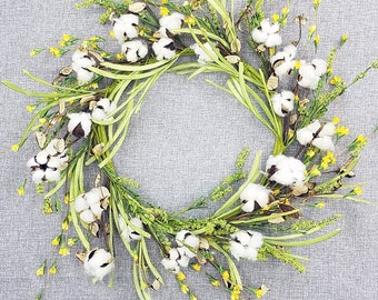 """ESE Wildflower & Cotton Wreath, yellow 24"""""""