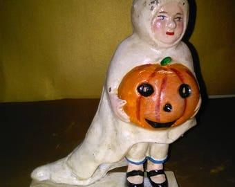 Vintage Cast Iron Halloween Bank (PRIMITIVE) Ghost Boy/Girl And Jack O Lantern  *****1920's-1940's******