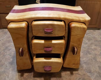 Bandsaw box made from western maple, purple heart, and pine