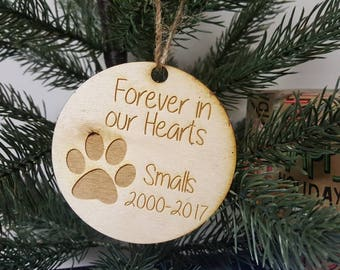 Personalized Christmas Tree Dog Puppy Memorial Ornament Year Paw Print Name and Years Family Christmas Dog Lover Fur Baby Mom