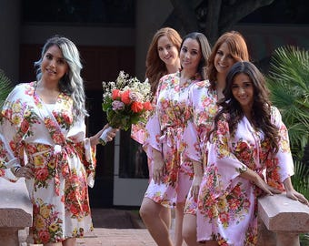 "Set Of ""8"" Floral Satin Bridal Robes - Silk Floral Robe - Dressing Gown - Bridesmaid Robe - Satin Kimono Robe - Floral Wedding Robes"