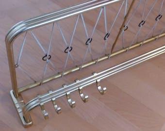 Vintage Golden wall coat hooks with shelf