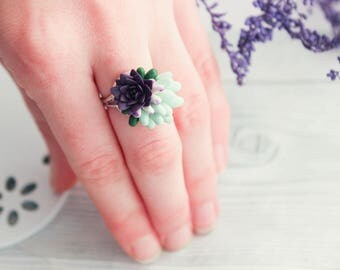 Purple succulent, succulent jewelry, cute jewelry, birthdays gift, gift for girlfriend, purple ring, succulent ring, purple succulent