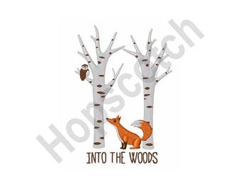 Into The Woods - Machine Embroidery Design - 4 x 4 Hoop, Fox, Forest, Nature, Owl