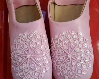Handmade ladies Moroccan leather Babouche slippers with sequins