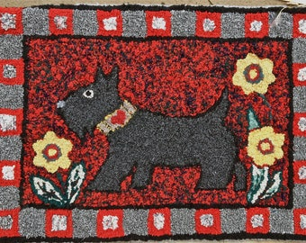Scotty Dog Wool Hand hooked rug