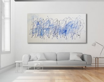 Large Minimalist Blue Painting / Blue Abstract Painting / Modern Art / Extra Large Art / Blue Minimalist Art / Oversized Art
