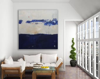 Large Original Blue Abstract Painting / Blue and Beige Painting / Original Art / Modern Art / Blue Painting / Large Art
